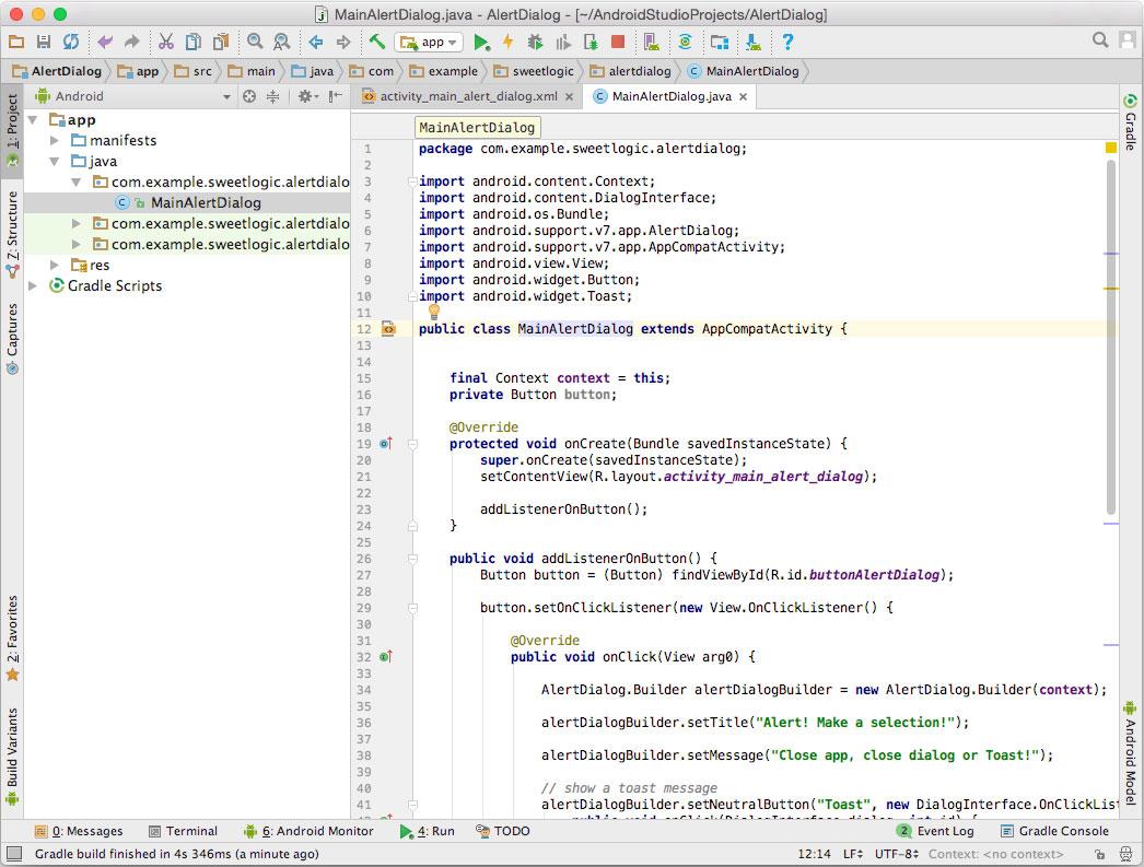 AlertDialog box Java codes