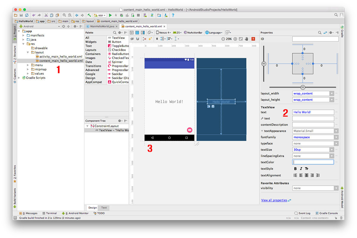 Android Studio layout designer