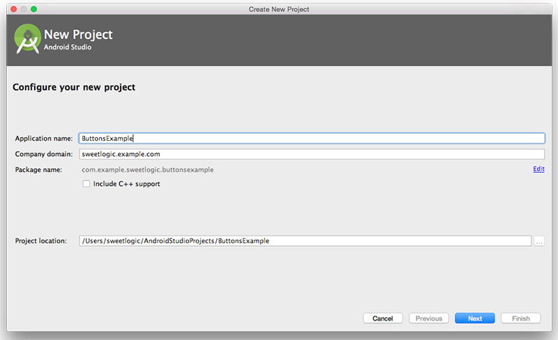 configure new project in Android Studio