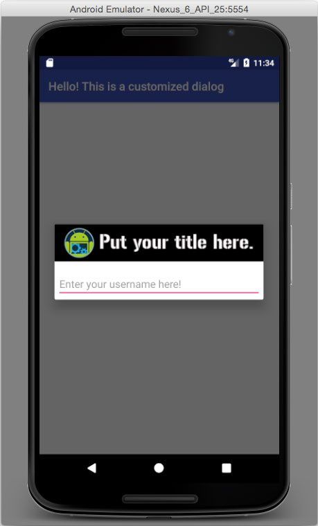 customized header title for alert dialog in android app