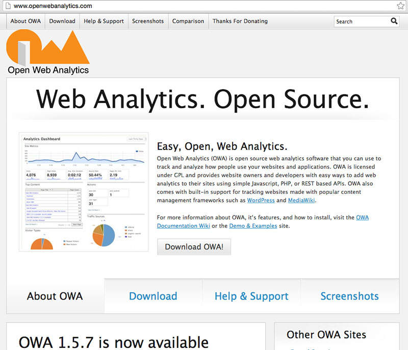 OpenWebAnalytics screen shot