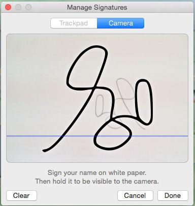 signature captured by web camera/isight