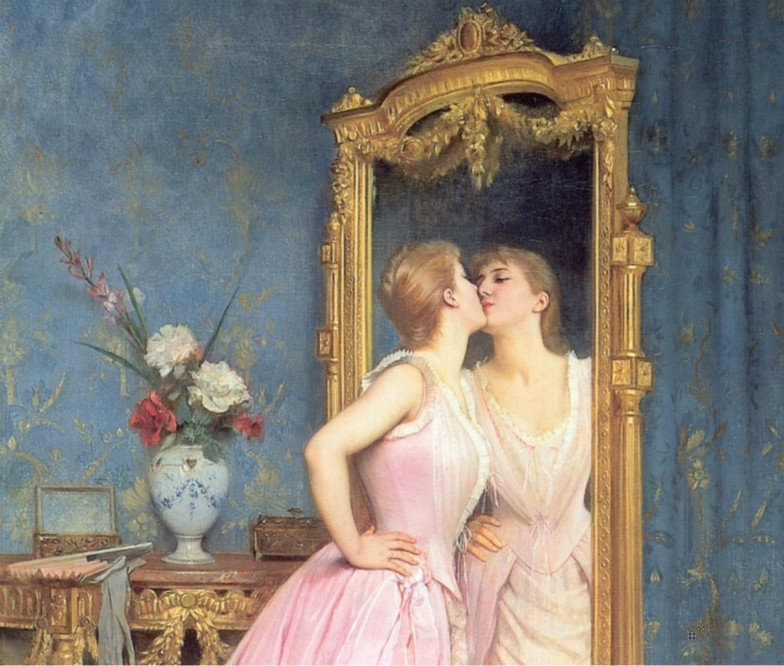 vanity - kissing own image on mirror