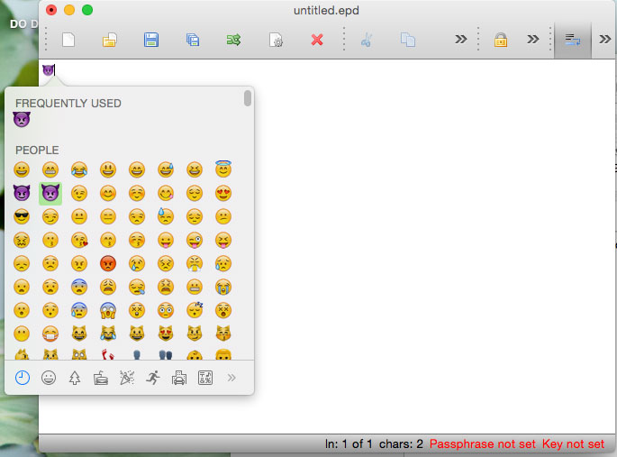 EncryptPad in action - support emojis too