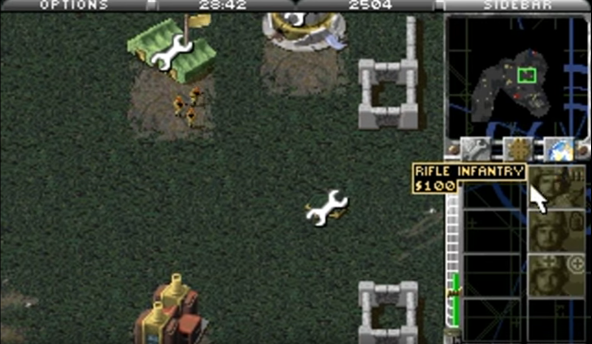 barracks producing soldiers in Command and Conquer