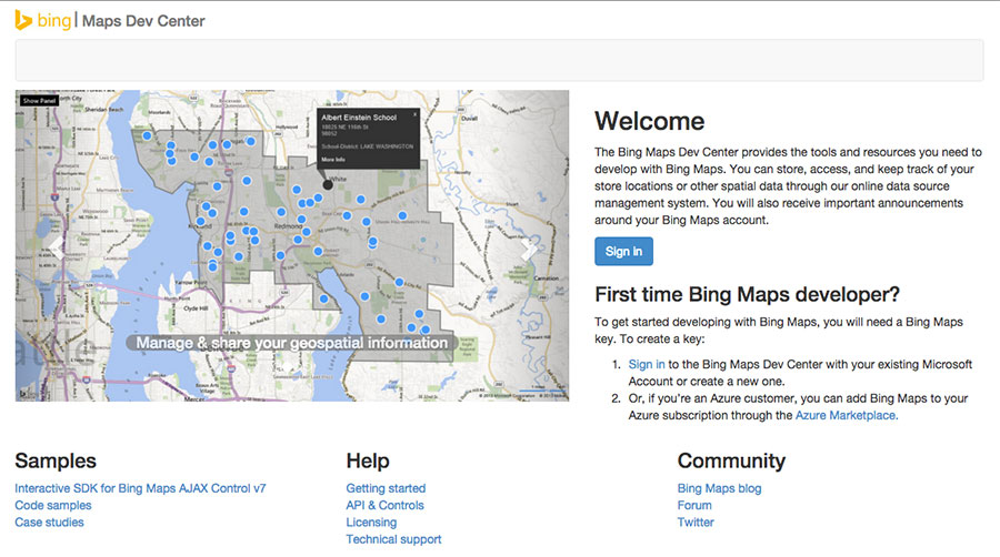 bing maps developer center