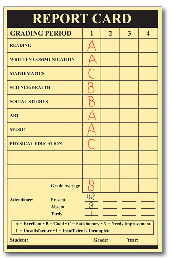 a sample report card