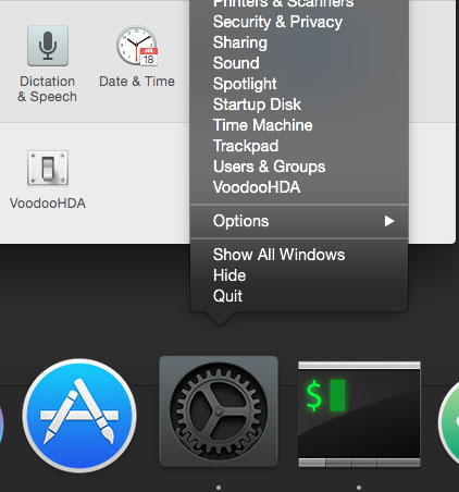 right click on System Preferences from Dock