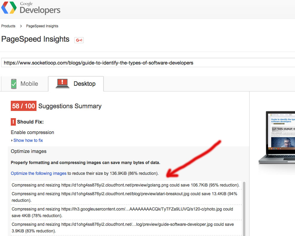 pagespeed insights suggestions summary