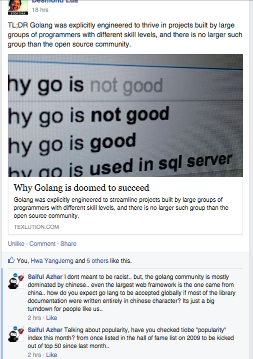 comments on Golang being dominated by Chinese language