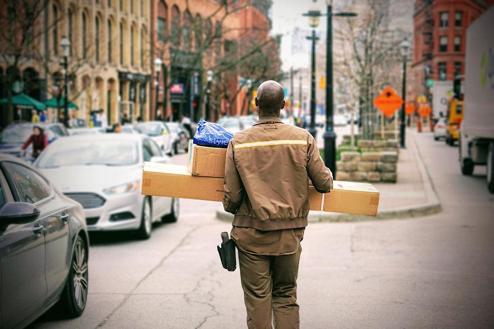 postman deliverying concert memorabilia