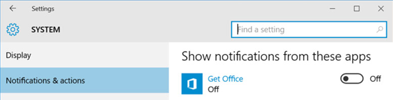 navigate to notifications and actions to look for get office