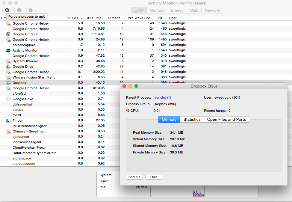 force quit with activity monitor