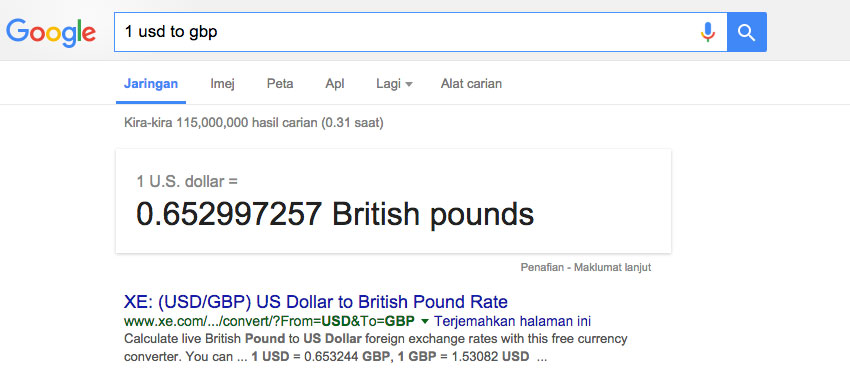 Google Currency Exchange Rate