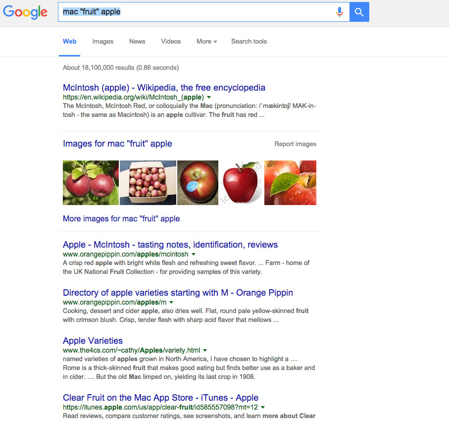 emphasize on the word fruit in goole search for apple