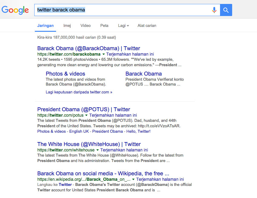 obama twitter search result