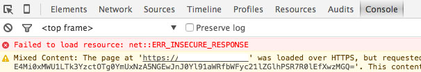 chome console err_insecure_response message