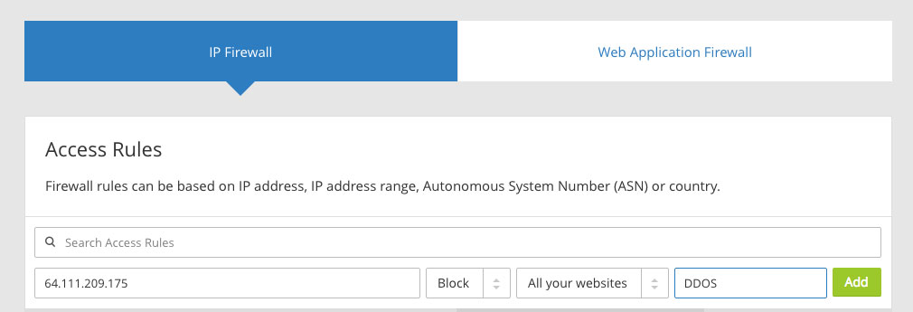 configure cloudflare IP firewall to block IP address
