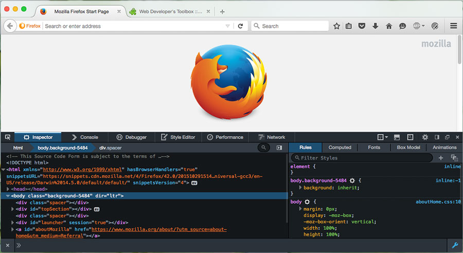 Firefox developer tools screenshot