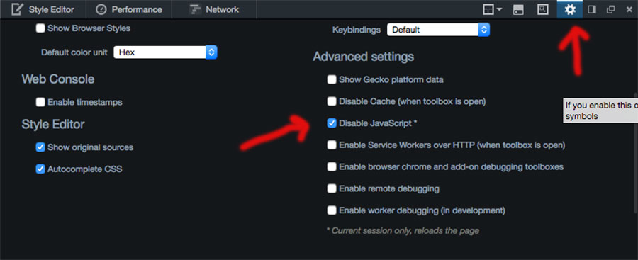 steps to disable JavaScript on Firefox current session