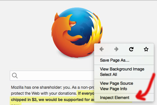 inspect element with Firefox