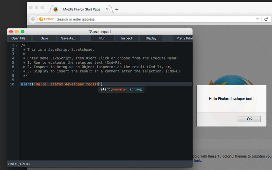 Firefox scratchpad in action