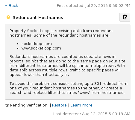 redundant hostnames alert by google analytics