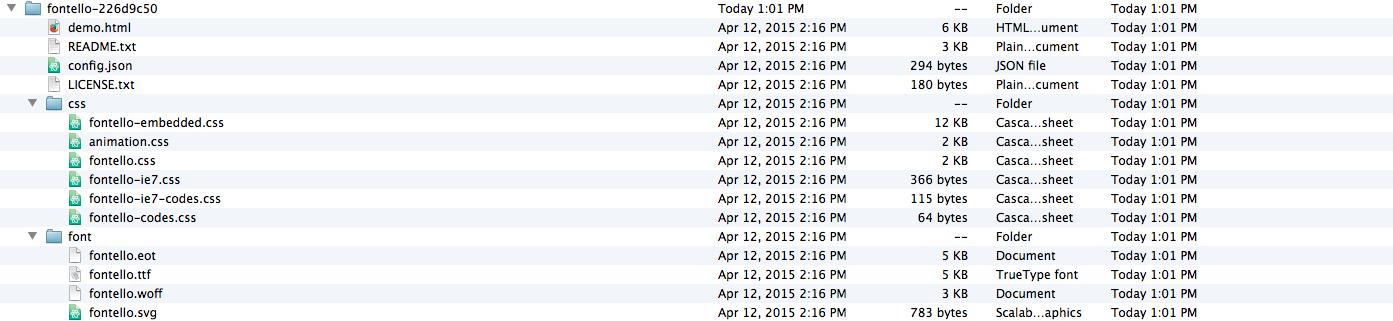 fontello unzipped file directory structure
