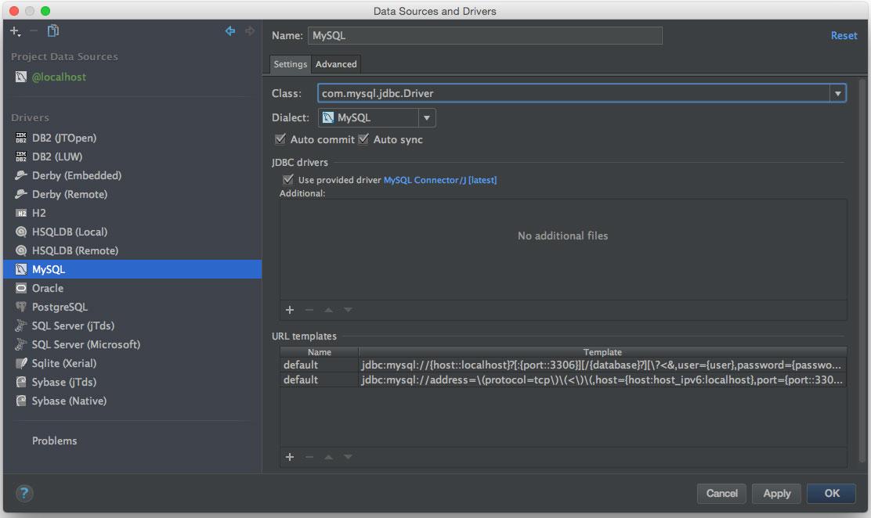 example configuration for mysql
