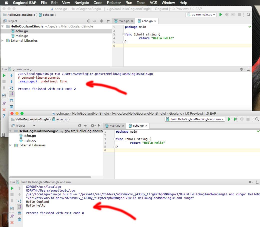 single file versus application run configurations