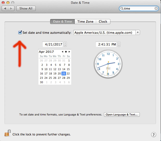 set time to automatically sync with time.apple.com