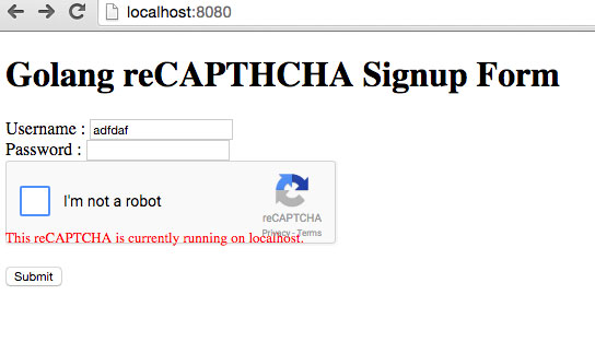 a signup form binded to reCAPTCHA