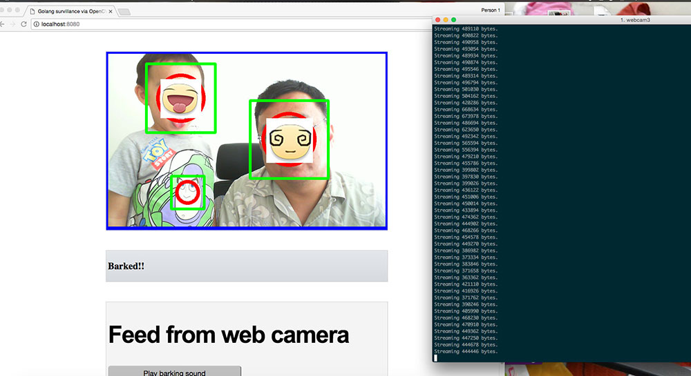 detect faces and broadcast out base64 string encoded images