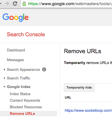 Google Search Console Remove URLs tool