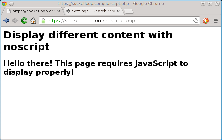 page with noscript in action