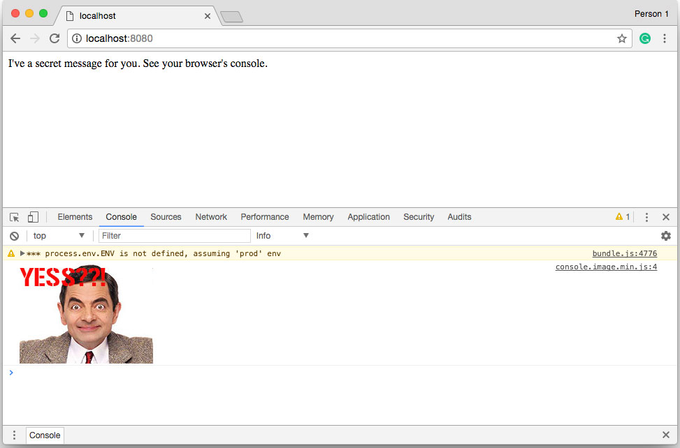 mr bean into chrome's dev console