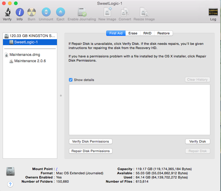 disk utility graphical user interface