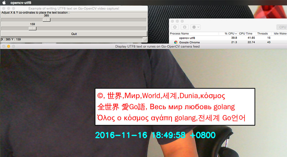 proper UTF8 characters pasted on OpenCV videocapture image frames